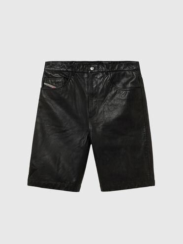Short en cuir à cinq poches