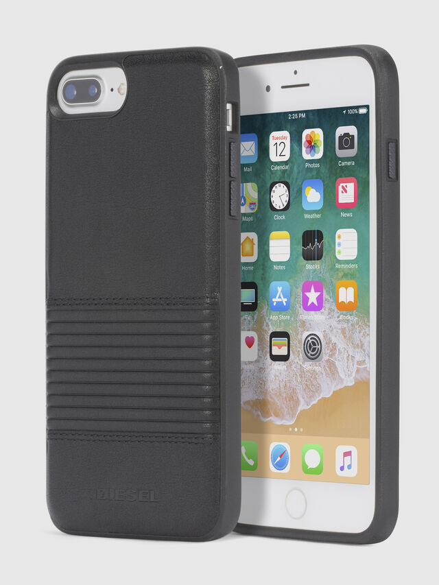 BLACK LINED LEATHER IPHONE 8 PLUS/7 PLUS/6s PLUS/6 PLUS CASE, Noir