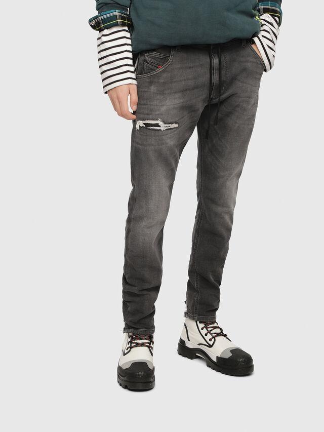 Diesel - Krooley JoggJeans 069EM, Noir/Gris foncé - Jeans - Image 1