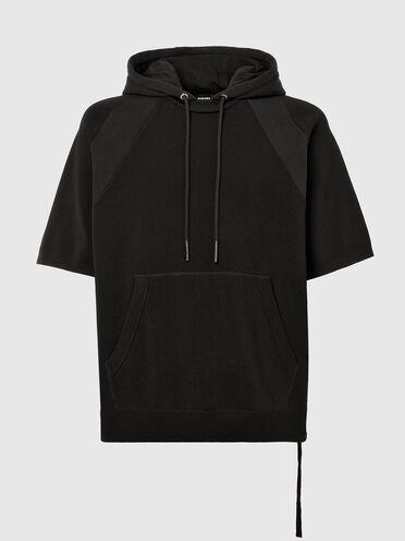 Sweat à capuche à manches courtes en tricot et molleton