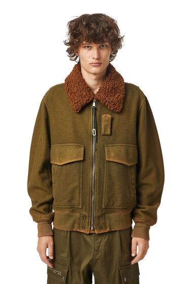 Blouson aviateur en feutre de laine traité