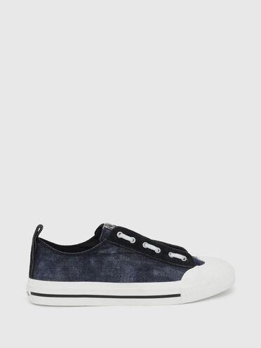 Sneakers basses en denim et en daim