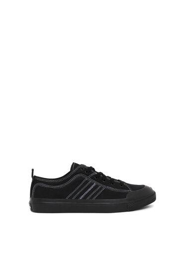 Sneakers basses en toile bicolore
