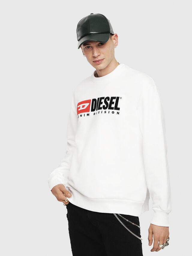 Diesel - S-CREW-DIVISION, Blanc - Pull Cotton - Image 1