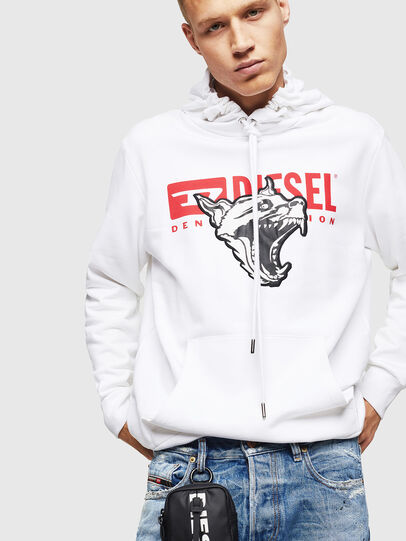 Diesel - S-GIR-HOOD-BX1, Blanc - Pull Cotton - Image 4