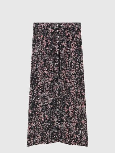 Jupe longue en viscose à motifs floraux