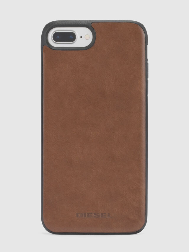 Diesel - BROWN LEATHER IPHONE 8 PLUS/7 PLUS/6s PLUS/6 PLUS CASE, Marron - Coques - Image 3