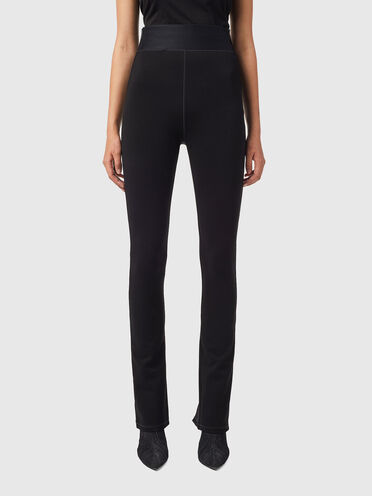 Pantalon taille haute en maille milanaise