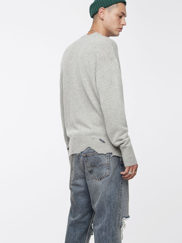 Diesel - K-MUST, Gris Clair - Pull Maille - Image 2