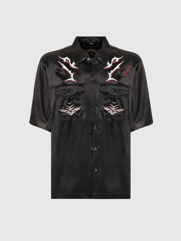 Chemise à col cavalier avec broderies