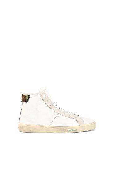 Sneakers montantes en cuir traité