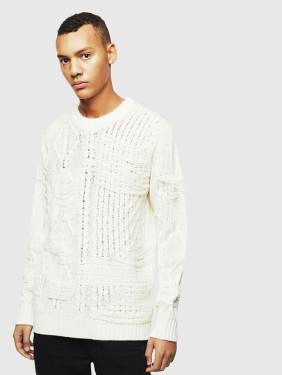 Diesel - K-BRIGLY, Blanc - Pull Maille - Image 1