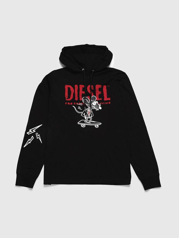 CL-T-JUST-LS-HOOD, Noir - T-Shirts