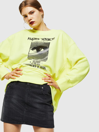Diesel - F-AKUA, Jaune Fluo - Pull Cotton - Image 4
