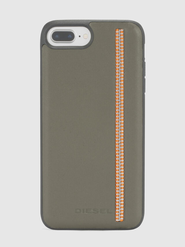Diesel - ZIP OLIVE LEATHER IPHONE 8 PLUS/7 PLUS/6s PLUS/6 PLUS CASE, Vert Olive - Coques - Image 2