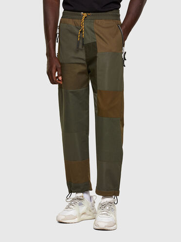 Pantalon en patchwork en matériaux mixtes