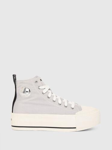 Sneakers à plateforme en satin technique