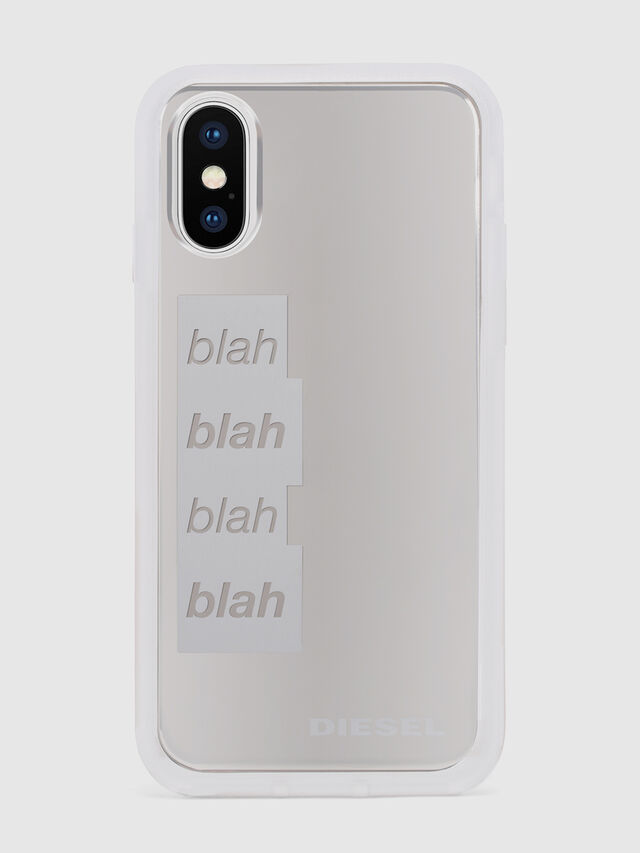 Diesel - BLAH BLAH BLAH IPHONE X CASE, Blanc/Gris argenté - Coques - Image 2