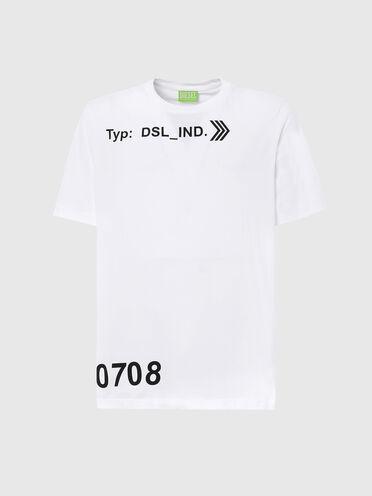 T-shirt label vert avec imprimé «DSL_IND»