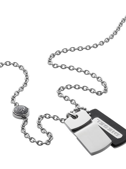 Diesel - NECKLACE DX0973, Gris argenté - Colliers - Image 2