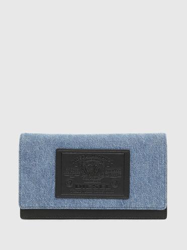 Mini sac portefeuille en denim bicolore