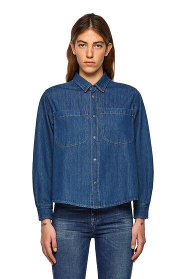 Chemise en denim avec drapé dans le dos