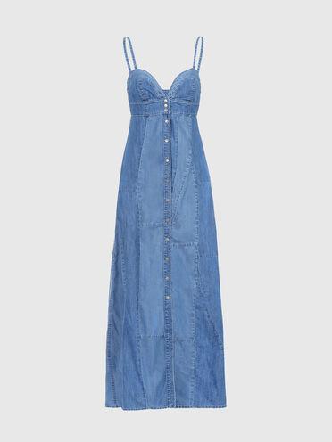 Longue robe en denim façon patchwork