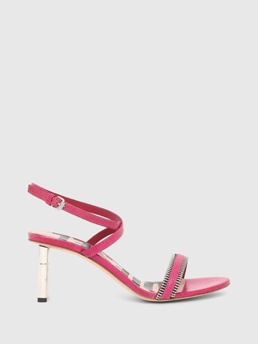 Sandales à demi-talon en cuir imprimé lézard