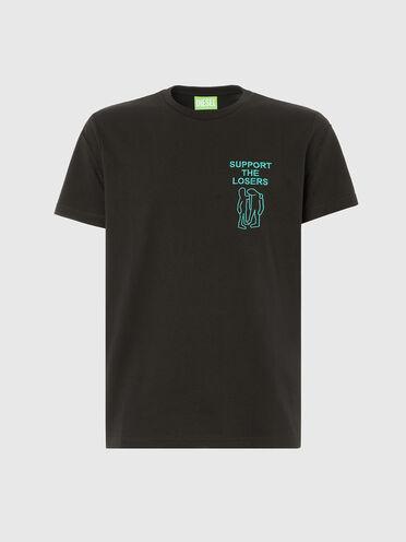 T-shirt label vert avec broderie