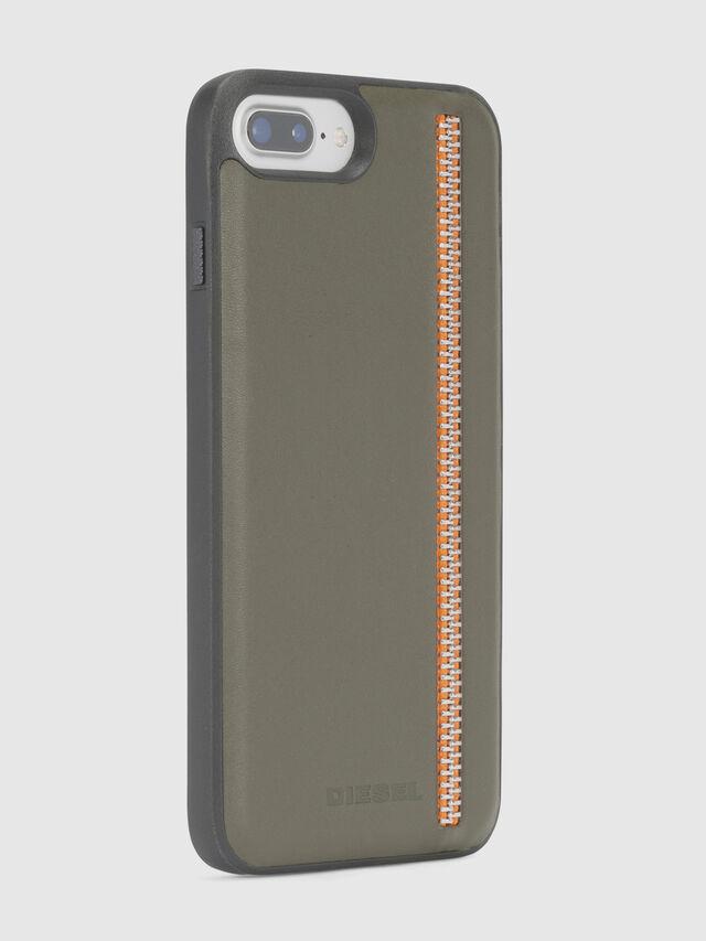 Diesel - ZIP OLIVE LEATHER IPHONE 8 PLUS/7 PLUS/6s PLUS/6 PLUS CASE, Vert Olive - Coques - Image 4