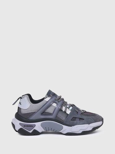 Sneakers en nylon irisé et daim