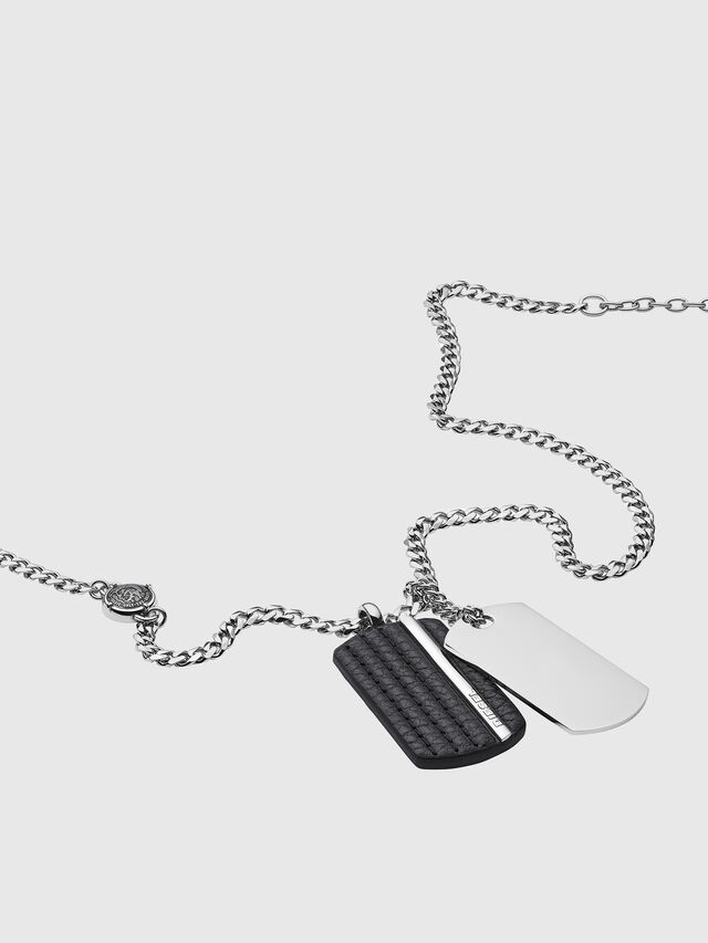 Diesel - NECKLACE DX1040, Gris argenté - Colliers - Image 2