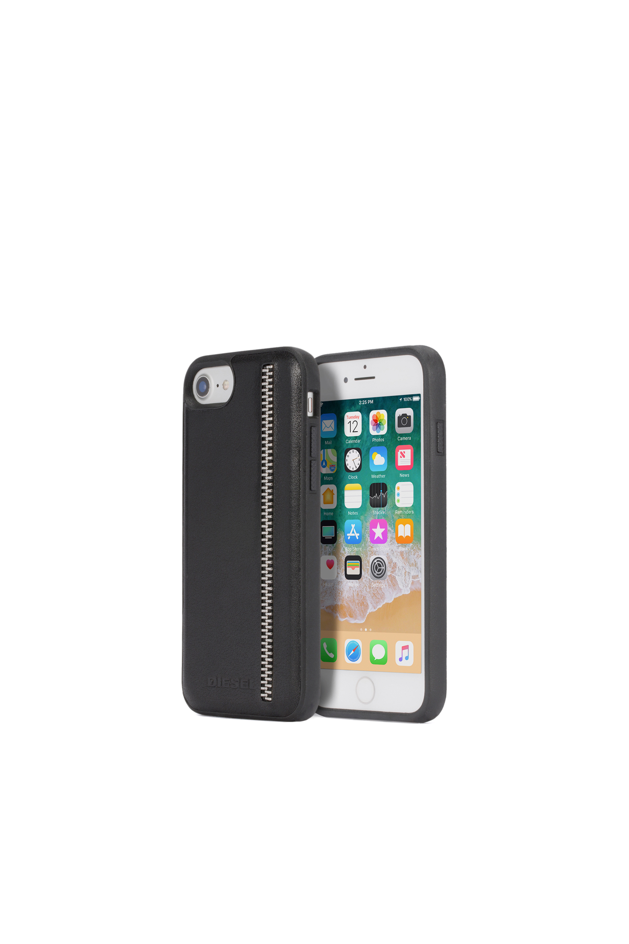 Diesel - ZIP BLACK LEATHER IPHONE 8/7/6s/6 CASE,  - Coques - Image 1