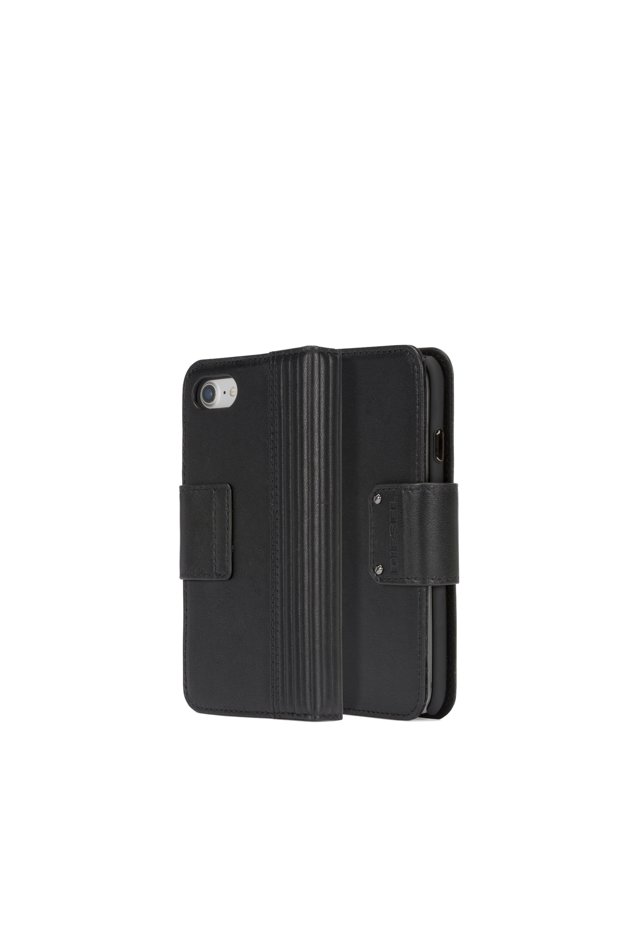 Diesel - BLACK LINED LEATHER IPHONE 8/7 FOLIO,  - Coques à rabat - Image 1