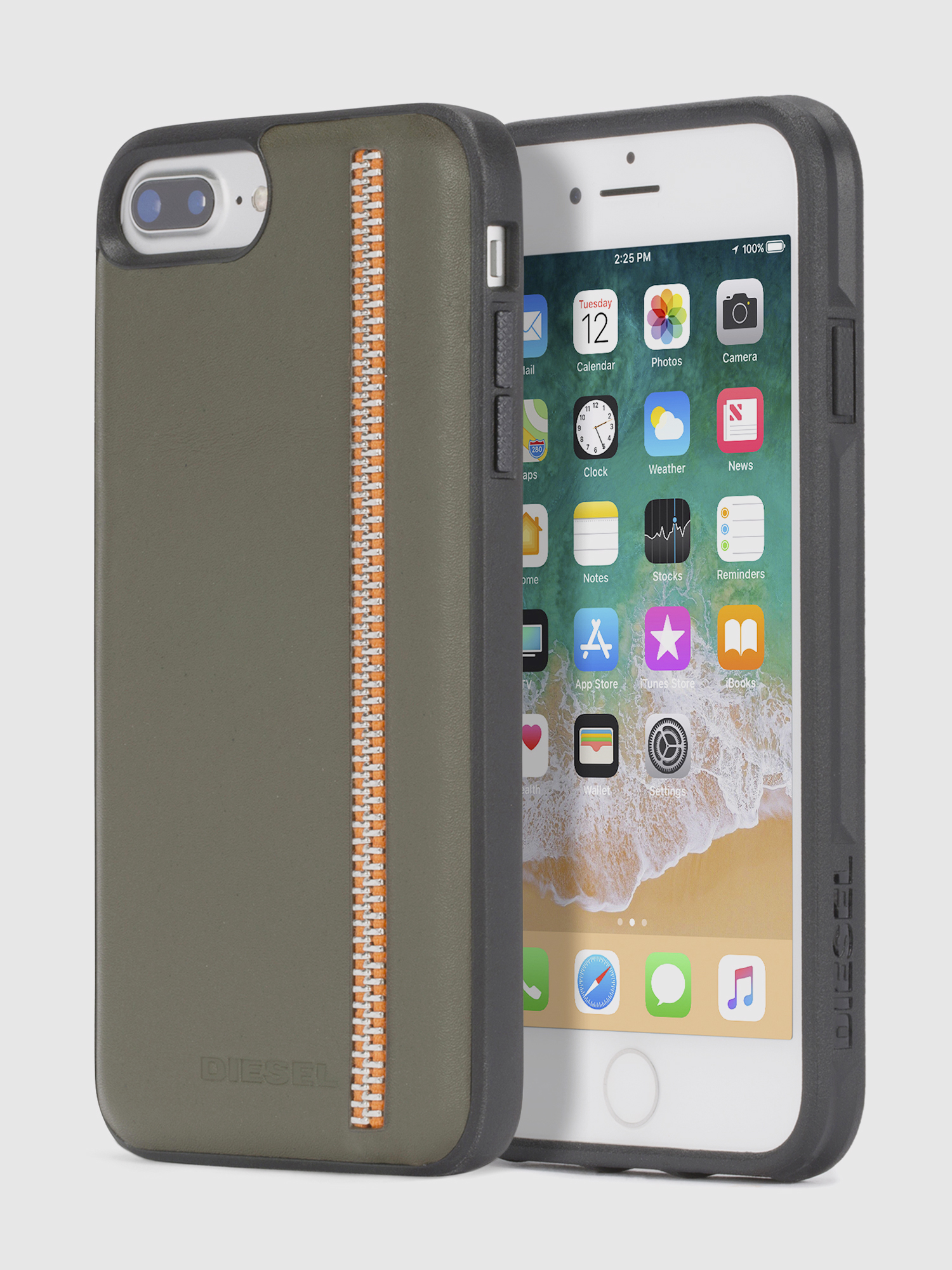 Diesel - ZIP OLIVE LEATHER IPHONE 8/7/6s/6 CASE,  - Coques - Image 1