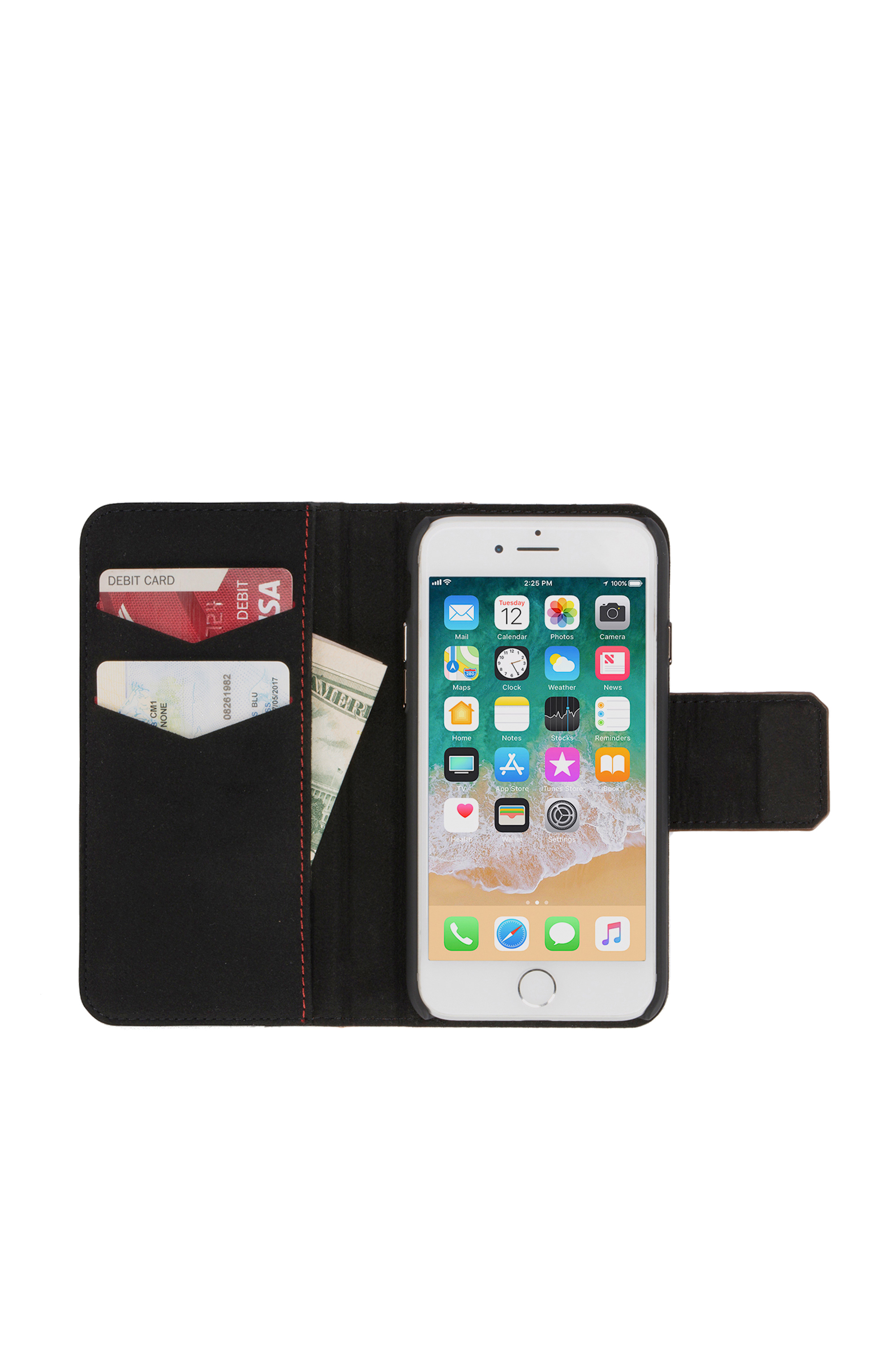 Diesel - BLACK LINED LEATHER IPHONE 8/7 FOLIO,  - Coques à rabat - Image 6